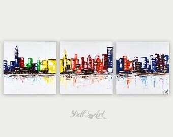 Colorful New York City Abstract Art, Urban Modern, Oil & Acrylic On Canvas Painting, Oil Painting, Home decor, New York Three Canvas Skyline
