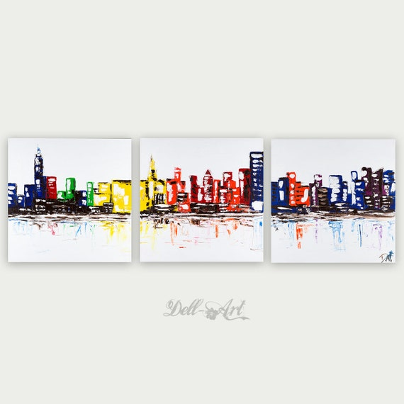 New York City Picture Canvas Painting Modern Wall Art: Colorful New York City Abstract Art Urban Modern Oil