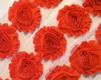 """Dark Orange Shabby Rose Trim 2.5"""" Shabby Flowers Shabby Chiffon Flowers Solid Shabby Chic Trim Wholesale Rosette trim 6cm 1 yard #208"""