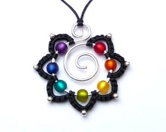 Chakra Mandala Necklace Rainbow Flower Pendant Silverwire wirework - Colorful eyecatcher - Hippie - Blossom - Statement - Silver - Goa