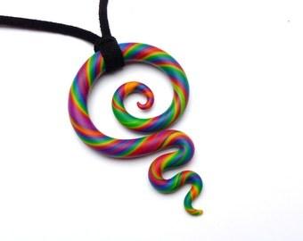 Meaningful Necklace KORU RAINBOW New Zealand Maori Symbol Fimo Polymer Clay Colorful Jewelry Big Pendant Leather String Bright Clay Artwork