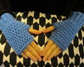 Kids Cornflower Blue Fingerless Gloves
