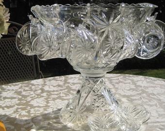 Prescut Clear Glass Punch Bowl Set, Star of David, Early American Prescut, EAP