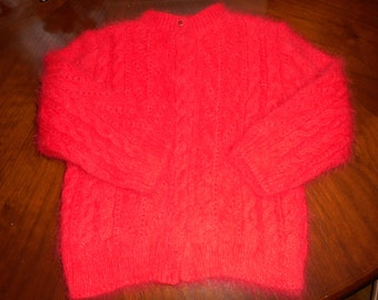 """RESERVED AT PRESENT Angora Scottish Hand knit Baby Lumber Jacket / Sweater  22"""" chest suitable for ages 12 months to 24 months"""