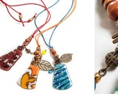 Necklace made with fused glass in a cotton cord, ON SALE