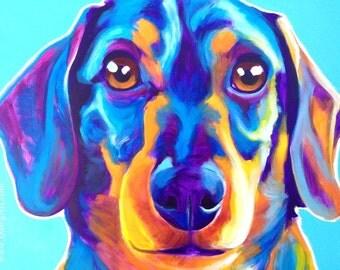Dachshund, Pet Portrait, DawgArt, Dog Art, Dachshund Art, Pet Portrait Artist, Pet Portrait Painting, Colorful Pet Portrait, Puppy Art,