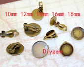10pcs Ear clip Stud Tray Silver Plated Bronze Ear Tray Fit 10mm/12mm/14mm/16mm/18mm Circle Cabochon smooth Pad Ear Base Set Fitting Ear Stud