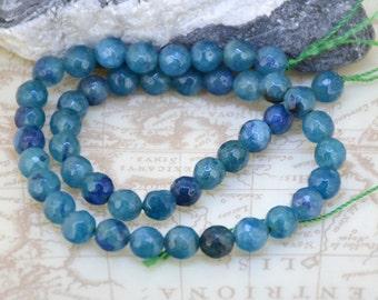 "Charm  Round Faceted Aquamarine 8mm Gemstone beads Loose One strand 15"""