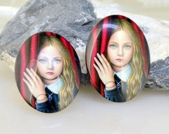 Oval Red Girl Handmade photo glass cabochon dome Beads 10mmx14mm13mmx18mm 18mmx25mm 30mmx40mm For Earring Brooch Ring Necklace Bracelet
