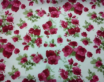 Red rose and green leave, white, fat quarter, pure cotton fabric