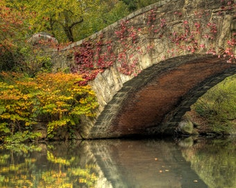 Gapstow Bridge, Central Park, New York City, Landscape Photograph, Reflection, Fall Foliage, Autumn, Fine Art Photography, Home Decor, HDR