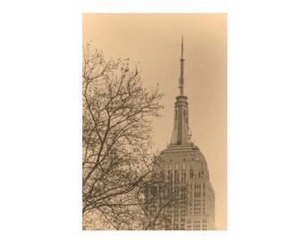 Empire State Building  Monochrome Photograph Manhattan New York City Landscape Photography Art Deco Sepia Neutral Wall Art Print