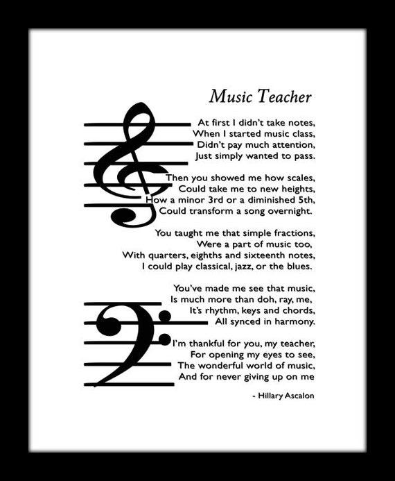 Printable Music Teacher/Educator Original poem by ...