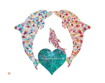 Dolphins Love -  Dophin Art Print, Dophin nursery wall art, Dolphin Kids wall art, Dolphin painting, Dophin illustration