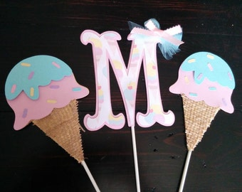 Ice Cream Centerpiece set, Ice cream party decorations. Sweet Shop Party Decorations. Ice Cream Birthday. Ice Cream Table Decoration.