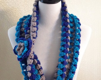 Infinity scarf,round scarf,loop scarf,cowl,crochet scarf with flower measures 42 x 7