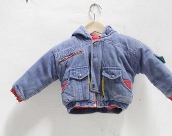 90s children's KRISS kross SKATER hoodie KIDS denim jacket