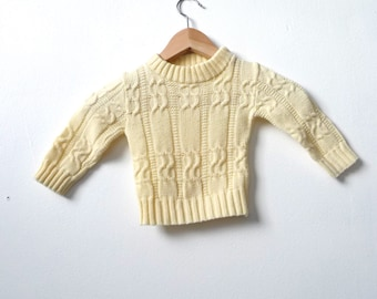 50s 60s baby toddler cream CABLE KNIT kids childrens sweater