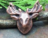 Artisan CopperPrecious Metal Clay  Deer Pendant