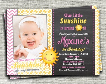 Sunshine Birthday Invitation, You Are My Sunshine Birthday Invitation, Chalkboard 1st Birthday Party Invitation- Printable DIY