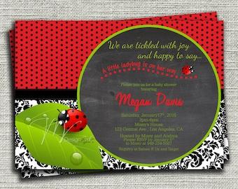 Ladybug Baby Shower Invitation, Girl Baby Shower Invitation, Damask Ladybug Birthday Invitation-DIY