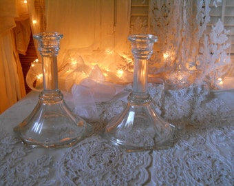 Large Heavy Glass HOMCO  Candle Holders Clear Glass Candle Holders Vintage Home Decor 1960s Housewares Table Setting Supplies