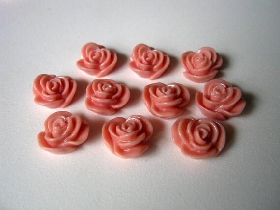 10 Rose Flower Resin Embellishment Jewelry Making Findings