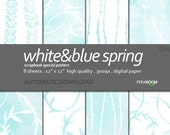 "Watercolor Digital Paper + 094_White&Blue Spring + Scrapbook Quality Paper Pack (12x12""- 300 dpi) 8 sheet pack paper + Sky Blue"