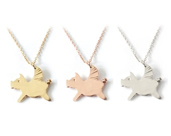 Flying Pig- Good Luck Necklace Charm