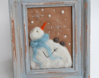 Whimsical Snowman - Winter Decor - Snowman Decor - Felted Snowman