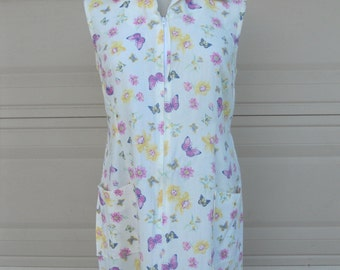 SALE Vintage 70s Sun Dresses . Lot of 3 Sundresses . Butterfly Floral Cotton Zip Front . M-L