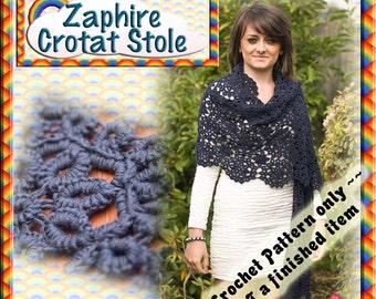 PDF Crochet Tatting Pattern Zaphire Crotat Stole
