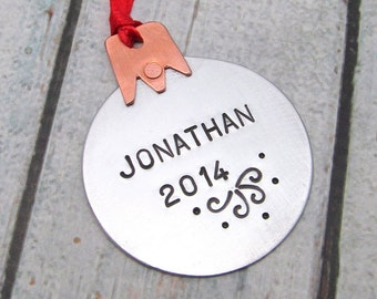 Personalized Christmas Ornament - Personalized Ornament with Name and Year - Hand Stamped Metal Ornament - Holiday Ornament - Mixed Metal