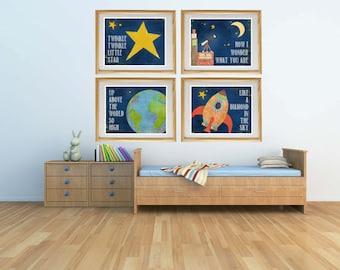 SALE 20% off - Twinkle Twinkle Little Star, Nursery Rhyme Art for Boy Room, Baby Boy Nursery, Hand drawn, Stars, Moon, Rocketship, LilyCole