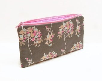 pencil case zipper pouch makeup bag flower bag small makeup bag pink and blue fowers on gray