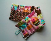 Crayon Roll, Crayon Holder, Sweet Treats Cupcakes with Brown Multi Colored Polka Dots, Holds 16 Classic Crayons, Ready to Ship