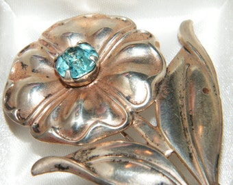 Vintage Signed 925 Sterling Silver Flower Brooch