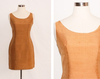 Vintage Golden Silk Mini Dress