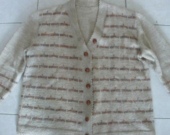 Beautifully handknitted vintage wool cardigan in beige with browns grey L