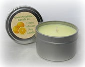 Soy Candle, Citrus Infusion, 6 ounce Seamless Tin, fresh and fruity, Great Kitchen Candle, Yellow