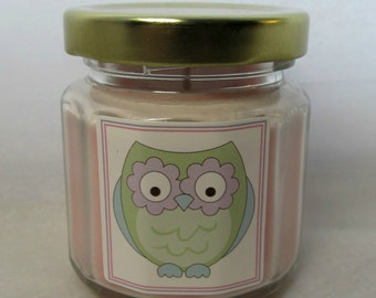 Owl Baby Shower Favor Candle, Owl Themed Shower Favor, You choose scent and candle color