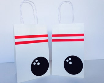 Bowling Party Favor Bags - Bowling Paper goodie Bags - Set of 10