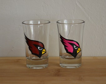 Arizona Cardinals Shot Glasses Set for his and her Hand Painted Red Cardinal and Pink Cardinal