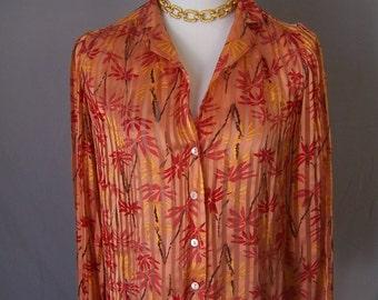 CAROLE LITTLE vintage orange sheer silk striped tropical resort blouse top SM