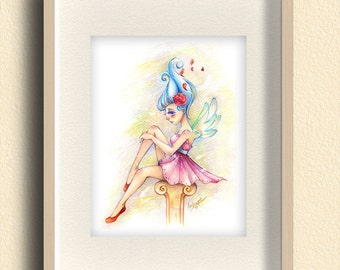 Fairy Art Print. Fantasy Art. Anime Girl Illustration. Girl's Room Decor. Nursery Art. Giclee Art Print. Girls Wall Art. Pink Princess Art