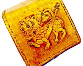 Celtic Irish Wallet - Lion Wallet - Yellow - Medieval - Men's Leather Wallet - Book of Kells - Gift Ideas, Holds 8 Credit Cards, 1 Bill Slot