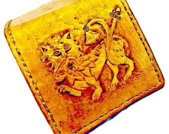 Medieval Yellow Leather Lion Wallet, Holds 8 Credit Cards, 1 Bill Compartments