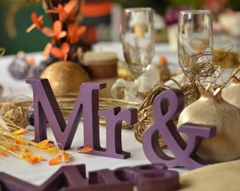 Mr & Mrs PURPLE sign wedding table decor, Wedding sign set of wooden letters Mr and Mrs. Sweetheart table decor wooden signs.