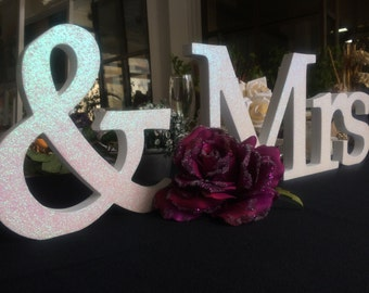 Mr & Mrs at the head table, Wedding sign set of wooden letters Mr and Mrs. Sweetheart table decor wooden signs.