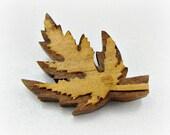 Antique Wooden Maple Leaf Brooch Pin, Artist MARGARET LOWE Brooch, Hand-Carved Walnut Wood Brooch, 1930s 1940s Artisan Jewelry